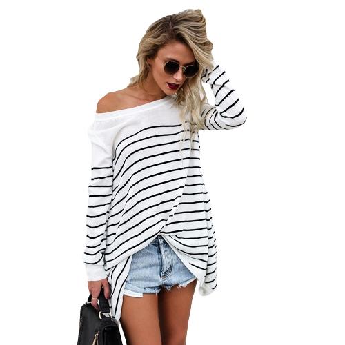 Nouveau Mode Femmes Rayé T-Shirt O Cou Manches Longues Asymétrique Long Tee Shirt Noir / Blanc