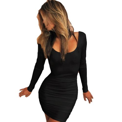 Nowe seksowne kobiety bodycon mini sukienka z dekoltem z długim rękawem Backless Ruched Party klubowa sukienka czarno / biała