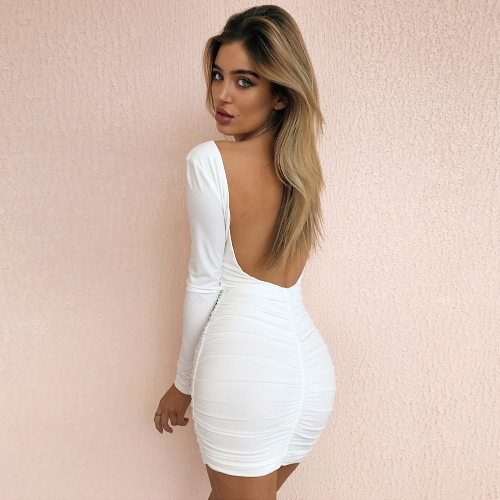 New Sexy Women Bodycon Mini Dress Scoop Neck Long Sleeve Backless Ruched Party Clubwear Dress Black/White