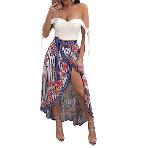 Neue Sexy Frauen Floral Hosen Elastische Hohe Taille Seitentasten Drawstring Lose Hosen Grün