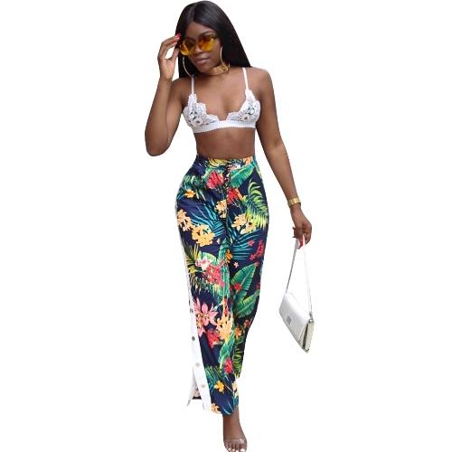 Nowe, seksowne, kobiece, kwiatowe spodnie z elastycznymi guzikami w talii, ściągające sznurowadło, luźne spodnie w kolorze zielonym