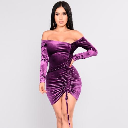 Women Velvet Off the Shoulder Dress Long Sleeves Slash Neck Ruched Drawstring Front Mini Dress
