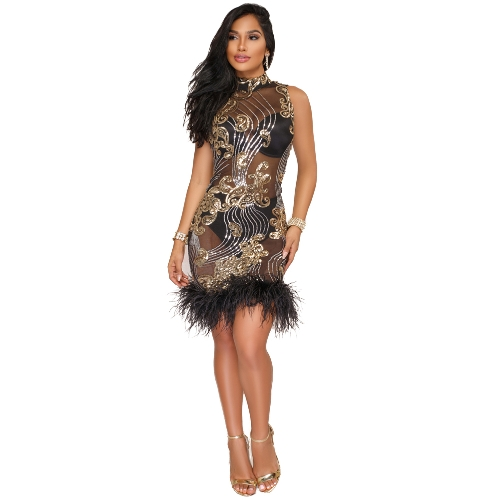 Women Dress Sheer Mesh Sequined Feather High Neck Sleeveless Bandage Bodycon Mini Sex Party Wear