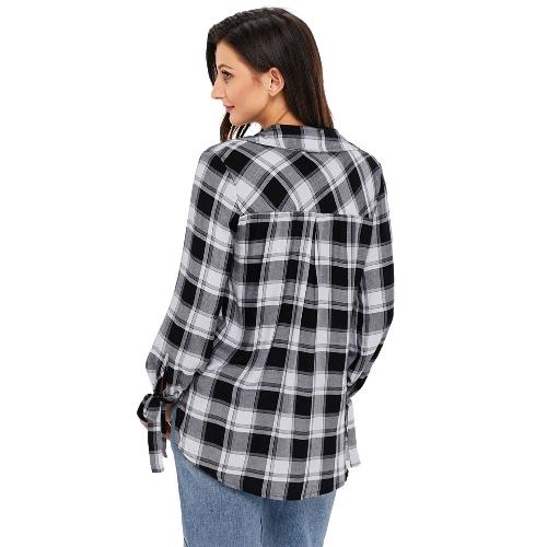 TOMTOP / Novas Mulheres Casual Xadrez Camisa Verificada Impressão V Pescoço Manga Longa Bandagem Blusa Solta Tops