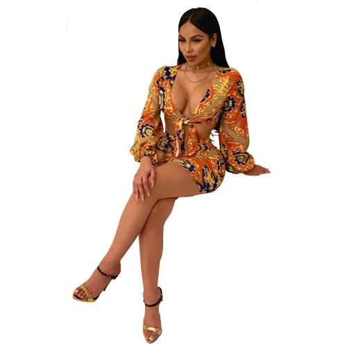 Mulheres sexy impressão africano conjunto de duas peças lanterna manga profunda v neck bow party club mini dress terno orange