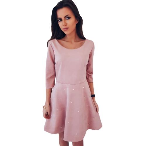 Sexy Women Mini Sukienka zroszony O-Neck 3/4 rękaw Solid-Line wieczór Party Dress Pink