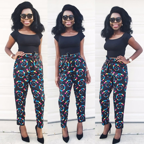 Fashion Women Africa Printed Causal Two Piece Set Crop Top Tie Waist Crop Top + Pants Suits Black