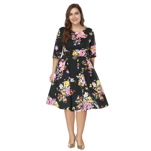 Vintage Plus Größe Floral Swing Kleid Rundhals halbe Hülse hohe Taille zurück Zip Party Plissee Kleid