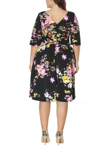 Купить Vintage Plus Größe Floral Swing Kleid Rundhals Halbe Hülse Hohe Taille Zurück Zip Party Plissee Kleid