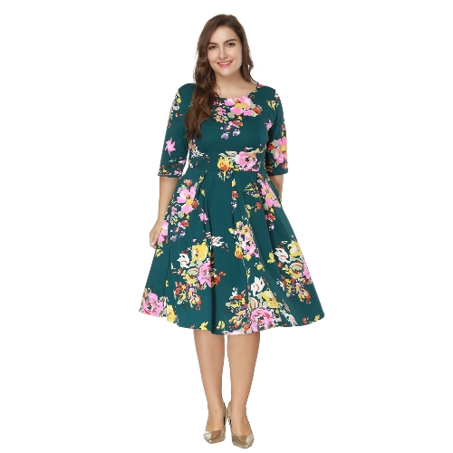 Vintage Plus Size Floral Swing Dress Round Neck Half Sleeve High ...