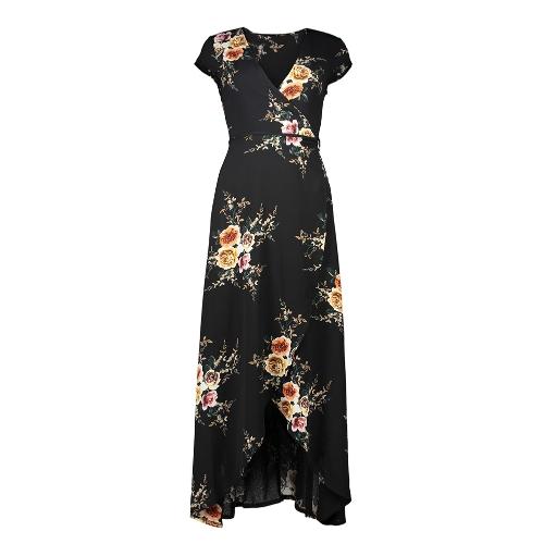 Frauen Blumendruck Kleid Wraparound V-Ausschnitt hohe Taille mit kurzen Ärmeln Swing Maxikleid