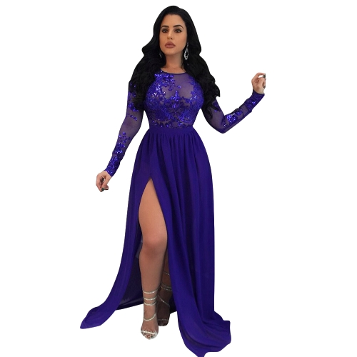 Sexy Frauen Lange Maxi Kleid Pailletten Sheer Mesh Split Backless Langarm Nachtclub Party Kleid Rot / Blau