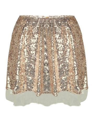 Damskie cekinowe mini spódniczka wysoka talia Zip Glitter A-Line krótka spódniczka złota