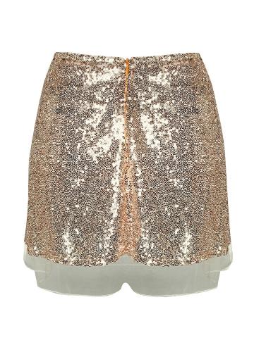 TOMTOP / Mulheres Lantejoula Mini Saia De Cintura Alta Zip Glitter A Linha Saia Curta De Ouro