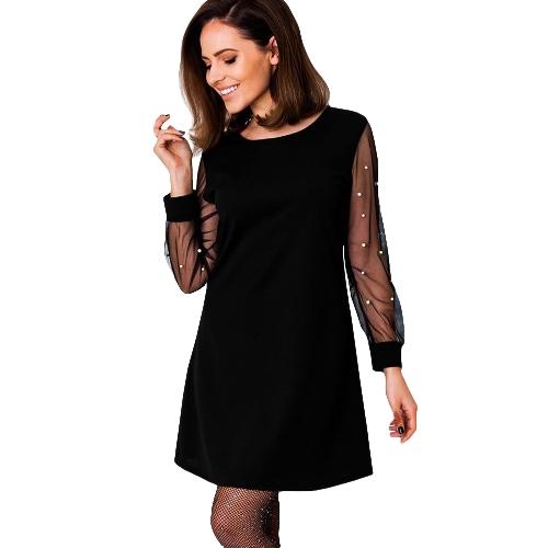 Damska jesienna sukienka z perłami w kolorze czarnym Siatka plażowa z długim rękawem Linia elegancka sukienka czarno / czerwona