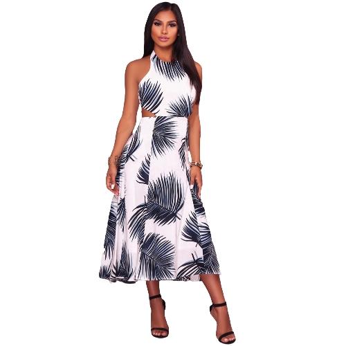 Kobiety Sukienka Kontrastowe Liście Drukuj Halter Neck Bez rękawów Otwórz Wróć Wysoka Talia Sukienka Maxi Casual Holiday Wear