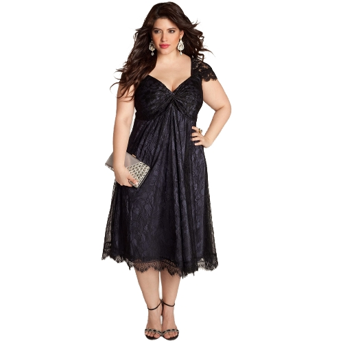 Kobiety Plus rozmiar sukienka kwiatowy koronki Sweetheart V Neck Cap Sleeve Midi elegancka odzież wieczorowa