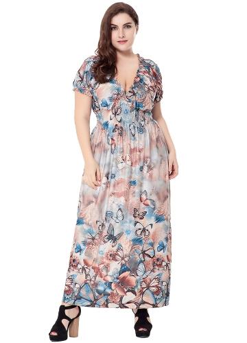 Neue Frauen Plus Size Bohemian Langes Kleid V-Ausschnitt Kurzarm Schmetterling Lässige Strand Maxi Kleid Blau / Grau / Rot