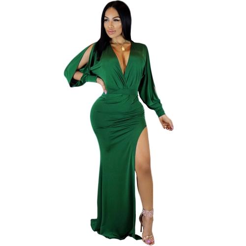 Abito da donna a spacco alto Solido scollo a V manica lunga aderente aderente Culbwear Abito da sera verde