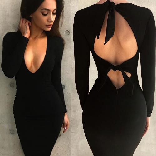 Sexy Frauen Bodycon Kleid ausgeschnitten Bandage tiefem V-Ausschnitt mit langen Ärmeln Backless Party Club Slim Midi Kleider