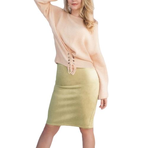 Sexy Frauen Wildleder Bleistiftrock Volltonfarbe Hohe Taille Split Zip Bodycon Midirock