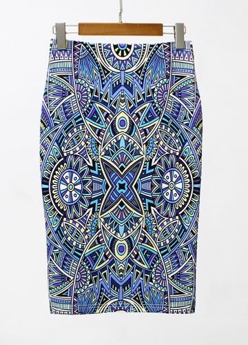 Nouveau Femmes Crayon Jupe Géométrique Imprimer Taille Haute Split Mince Élégant OL Bodycon Midi Jupe