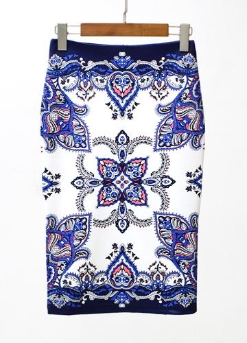 Новые женские карандашные юбки Vintage Print High Waist Split Slim Элегантная ретро OL Bodycon Midi Юбка