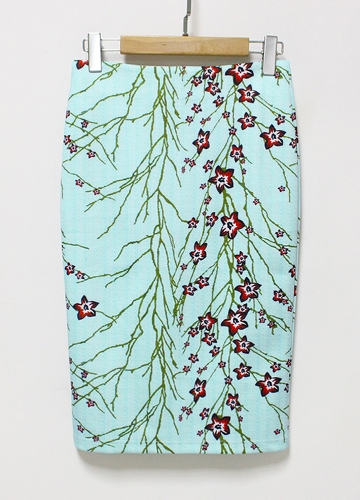 Neue Frauen Bleistiftrock Blumendruck Hohe Taille Split Vintage Schlanke Elegante OL Bodycon Midirock