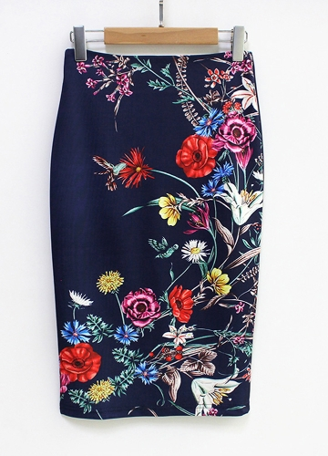 Novas Mulheres Lápis Saia Floral Vintage Impressão Cintura Alta Dividir Fino Elegante OL Bodycon Midi Saia