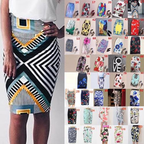 Новые женские карандашные юбки Vintage Цветочные печати Высокие талии Сплит Slim Элегантный OL Bodycon Midi Юбка фото