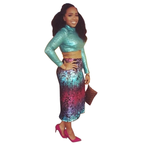 Sexy Women Bodycon Sequined Crop Top Spódnica Długie rękawy Slim Gradient Clubwear Party Two Piece