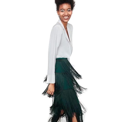 Elegante Frauen Midi Rock Quaste Volltonfarbe Seitenreißverschluss A-Line Rock Grün