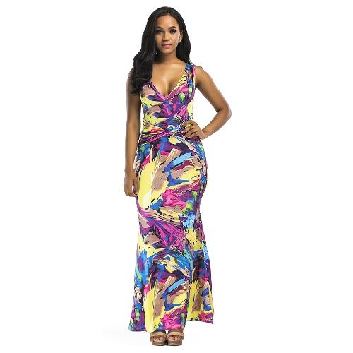Sexy Frauen Maxi Kleid Kontrast Farbe Block V-Ausschnitt ärmelloses schlankes Bodycon elegantes langes Kleid gelb