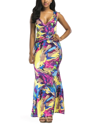 Sexy Women Maxi Dress Contrast Color Block V Neck Sleeveless Slim Bodycon Elegant Long Dress Yellow