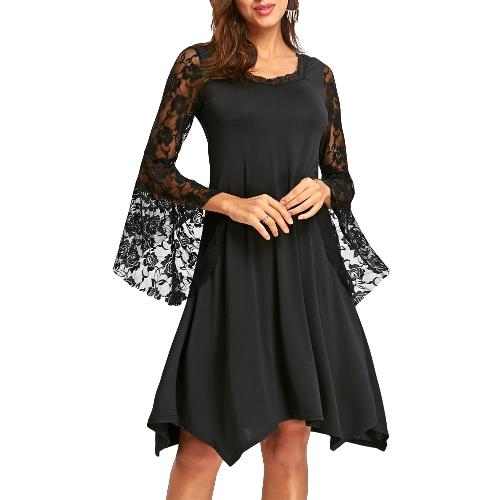 Elegancka Damska Koronkowa Sukienka Flare Sleeve O-Neck Asymetryczna Seksowna Luźna Sukienka Sukienki Plus Size Czarna