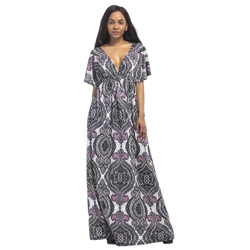Abito da donna vintage Plus Size Maxi Dress Geometric Print Plunge con scollo a V maniche corte Bohemian lunghi