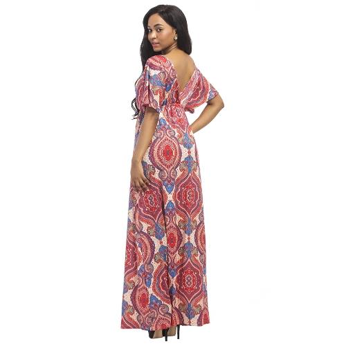 ac640ae835a Vintage Women Plus Size Maxi Dress Geometric Print Plunge V-Neck Short  Sleeves Bohemian Long Dresses