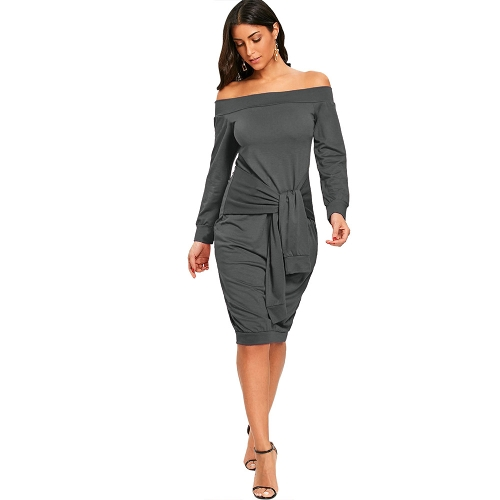 Women Sexy Off Shoulder Dress Tie Front Bodycon Solid Dress Party Clubwear