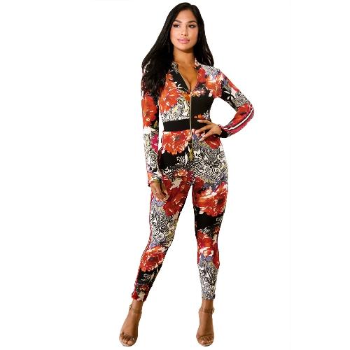 Mulheres Sexy One Piece Outfit Impresso Bodycon Jumpsuit Frente Zíper Calças Compridas Macacão Playsuit Laranja