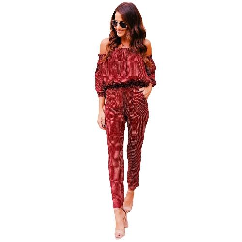 Sexy Frauen Schulterfrei Overall Elastische Taille Taschen Dot Playsuit Strampler Rot