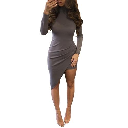 Seksowne kobiety Asymetryczna sukienka z wysokim stanem Długi rękaw Solidna szczupła Bodycon Nieregularna sukienka w ruched szara / fioletowa