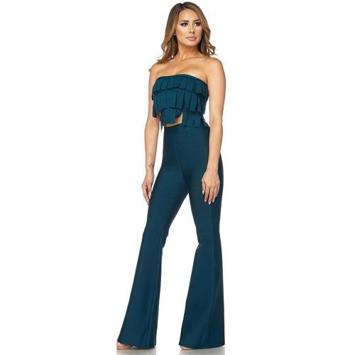 Mulheres Sexy Borla Two-Piece Set Calças Perna Larga Sólidos Ternos Curtos Tops Soltos Cintura Alta Calças Compridas Azul
