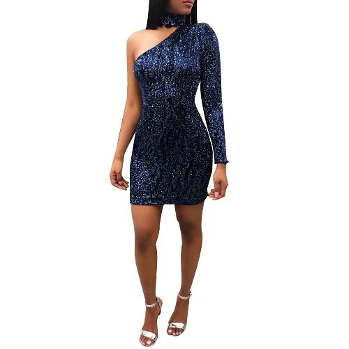 Seksowna sukienka dla kobiet Cekinowa sukienka z jednym ramieniem Zawieszka wisi na szyję z pojedynczym rękawem, na ramieniu mini sukienka