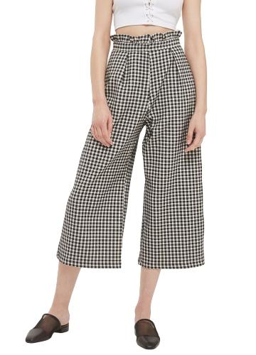 Novas Mulheres Xadrez Perna Larga Calças Verificadas De Cintura Alta Calças Compridas Casuais Calças Soltas Preto