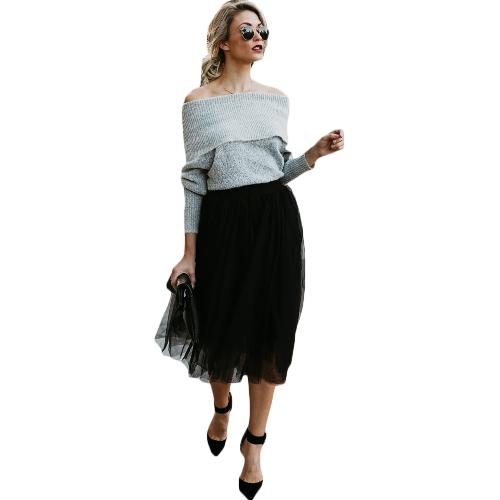 Moda damska Mesh Tulle Spódnica elastyczny pas Spódnica plisowana Midi jednolity kolor