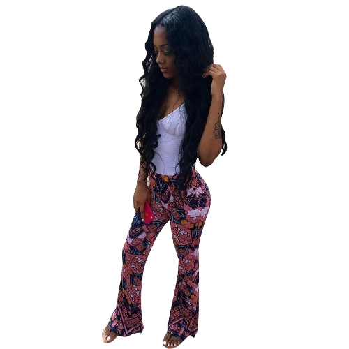 Women Flared Pants Geometric Print Wysoka talia Spodnie Bell Bottom Wide Legs Pink