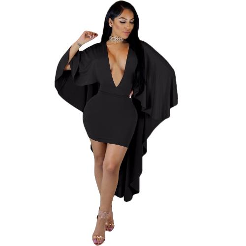 Nowe seksowne kobiety Mini Wiggle Bodycon Cape Sukienka Batwing Sleeve Deep V Neck Clubwear Dress Party