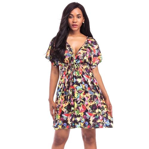 Neue Sexy Frauen Plus Size Print Minikleid V-Ausschnitt Kurzarm Elastische Taille Sommer Strand Plissee Kleid