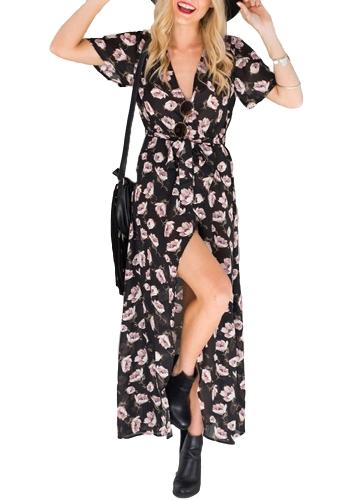 Nowa seksowna sukienka szyfonowa Maxi z kwiatowym nadrukiem Głęboka V z rozcięciem z krótkimi rękawami Szczupła plażowa długa sukienka w kolorze czarnym