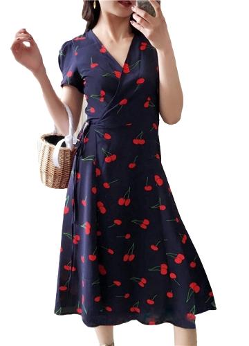 Elegante Frauen Midikleid Blumendruck Tief V Split Kurzarm Slim Beach Holiday Dress Lila / Rot / Dunkelblau